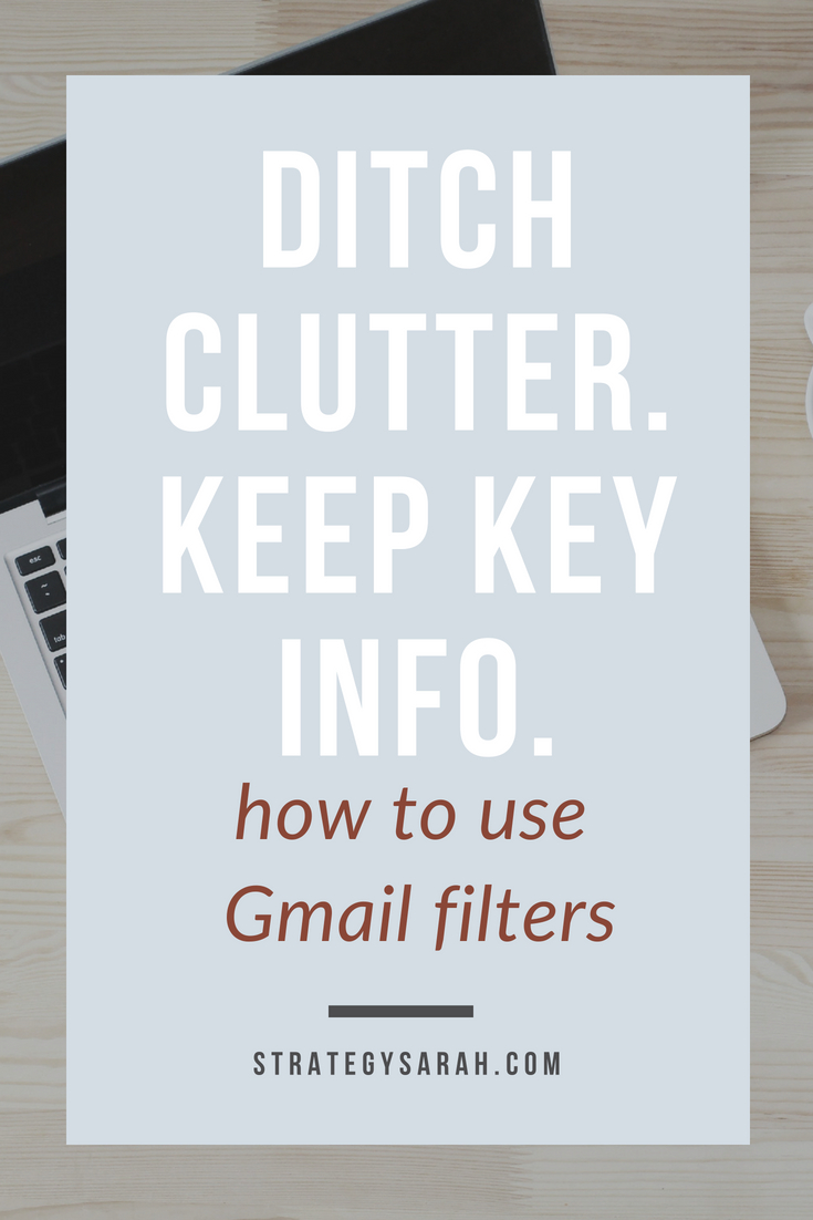 Using Gmail filters has changed my life! It's so great to not have to sort through the junk to find key emails. #inboxorganization #gmail #organizationtips