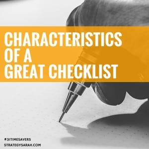 How simple is your checklist? | strategysarah.com #31timesavers