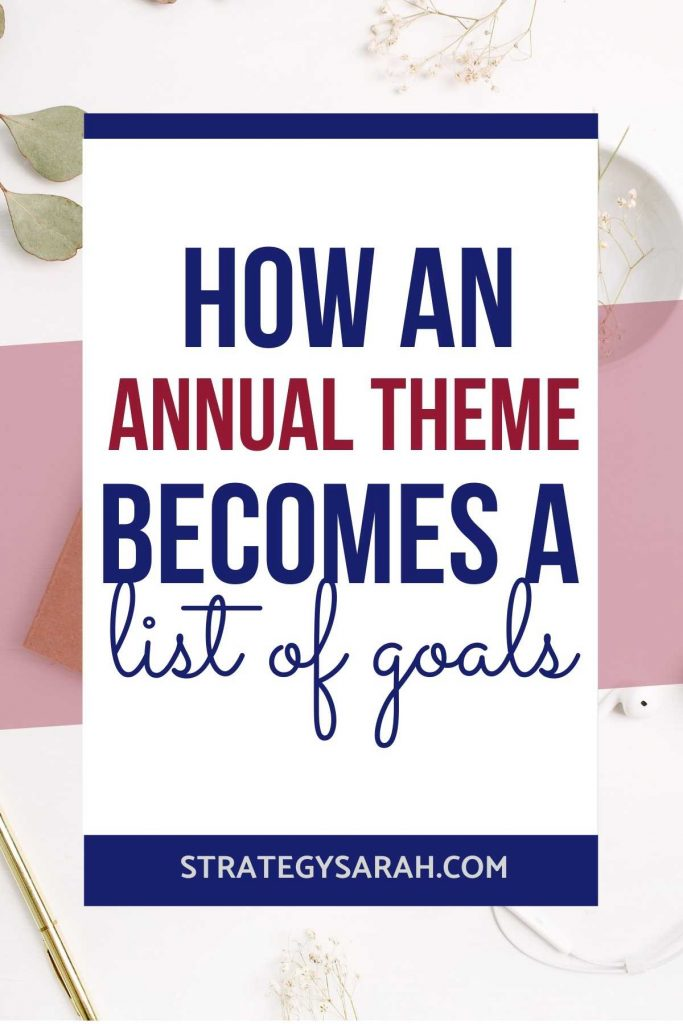 One goal oriented person's example of a list of goals, starting with an annual theme, broken down by type of goals and quarterly milestones.